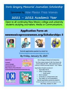 Doris Gregory 2021 Scholarship Flyer