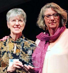 NMPW President Loretta Hall (l) and 2018 Communicator of Achievment Jessica Savage